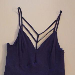 Loveriche dark blue backless maxi dress